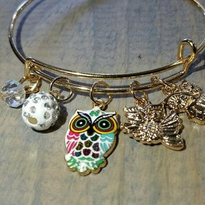 Cute Gold Owl Charm Bangle Bracelet